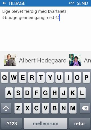 Skærmbillede af at tilføje en omtale (#) i et indlæg i SharePoint Newsfeed-app'en