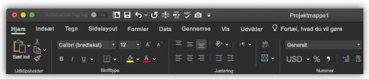 billede af båndet i Excel i mørk tilstand