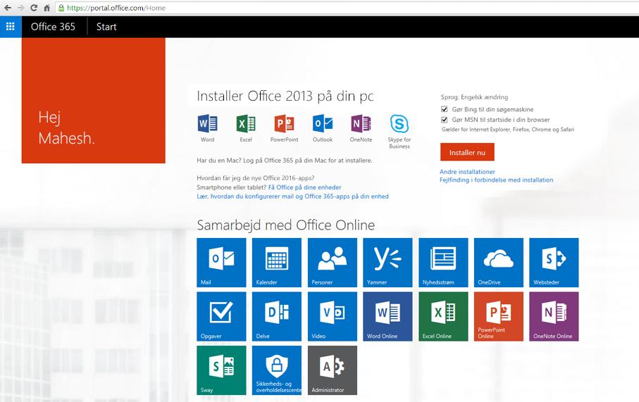 Skærmbillede af, hvordan du installerer Office 365 på en pc.