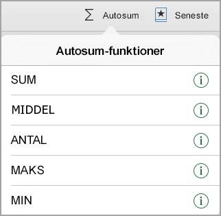 Menuen AutoSum-funktioner