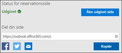 Skærmbillede: Kopiér URL-adressen fra siden reservation