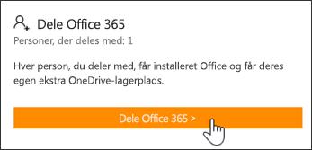 Sektionen Del Office 365 på siden Min konto, før abonnementet er blevet delt med nogen.