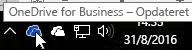 Et skærmbillede, der viser markøren kredse over det blå OneDrive-ikon med teksten OneDrive for Business.