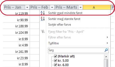 AutoFilter-knapper, der vises i kolonneoverskrifter i en Excel-tabel