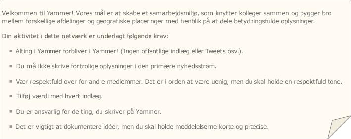 Et eksempel på en Yammers politik