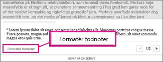 Knappen Formatér fodnoter i Word Onlines redigeringsområde for fodnoter