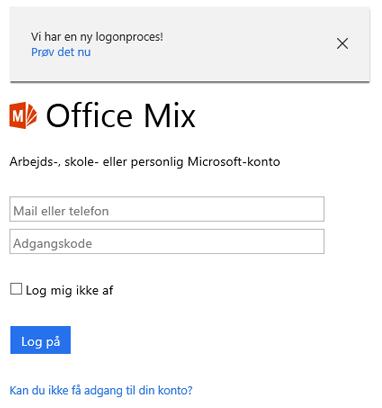 Du bliver bedt om at logge på med din Office 365-konto.