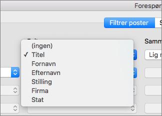 Klik på det felt, du vil filtrere efter