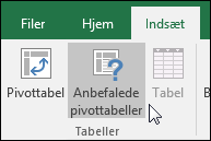 Gå til Indsæt > Anbefalede pivottabeller for at lade Excel oprette en pivottabel for dig