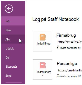 Åbne en notesbog fra menuen Filer