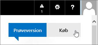 Knap til køb af dit Office 365-prøveabonnement