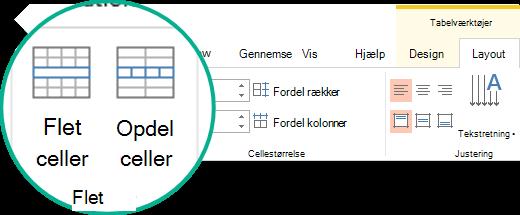 Flet eller Opdel celler i en tabel