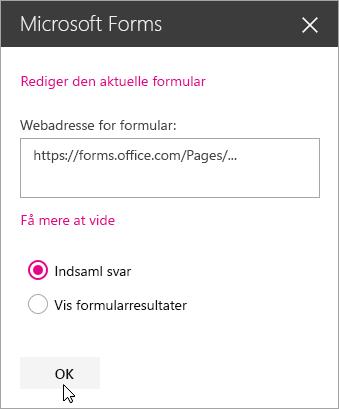 Når der er blevet oprettet en ny formular, vises webadressen til formularen i panelet til webdelen Microsoft Forms.