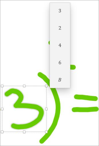 Tryk på et af forslagene for at rette ligningen.
