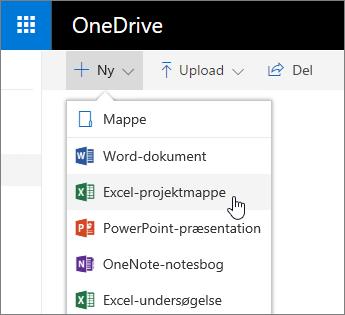 Onedrives Ny-menu, kommandoen Excel-projektmappe