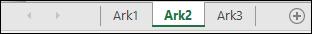 Regnearksfaner nederst i Excel-vinduet