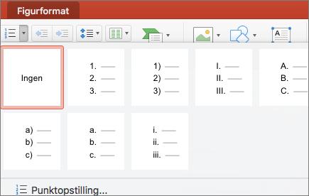Skærmbillede af nummereringstypografier, der er tilgængelige, når du vælger pilen på knappen Nummerering.