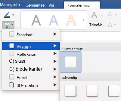 Klik på effekter under fanen Formatér.