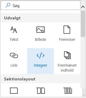 Skærmbillede af menuen Integrer indhold i SharePoint.