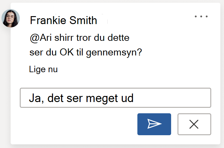 Et billede af en kommentar, der viser knappen Send. Knappen Send vises i det nederste nyhedskanal hjørne af kommentar kortet, når du skriver en ny kommentar eller kommentar svar.