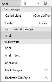 Liste over skrifttyper