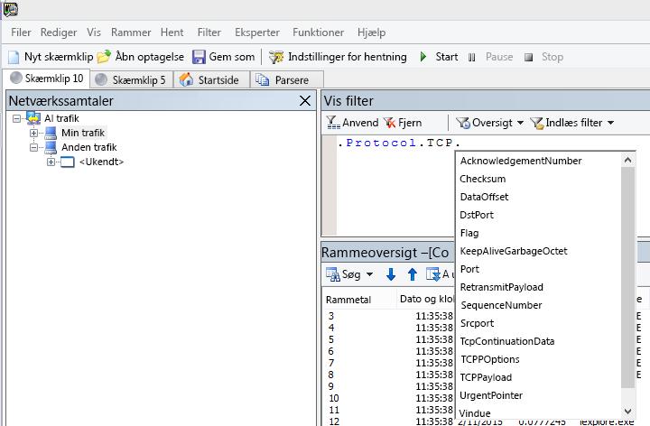 Skærmbillede af Netmon, som viser, at feltet Vis filter bruger IntelliSense.