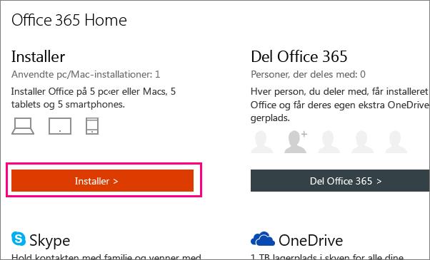 Viser knappen Installer Office 365 Home min kontoside