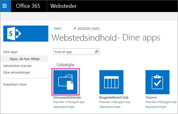Vælg dokumentflisen på siden Dine apps for at tilføje en ny dokument-objektbeholder til lagring.