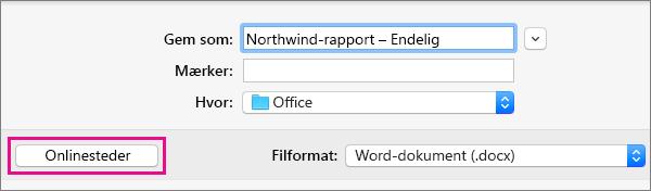 Klik på Gem som i menuen Filer, og klik derefter på Onlineplaceringer for at gemme et dokument på en onlineplacering.