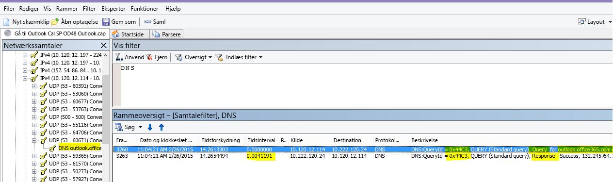 En Netmon-sporing af Outlook Online-indlæsning, som er filtreret efter DNS, og brug af Find samtaler og derefter DNS for at indskrænke resultaterne.