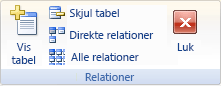 Båndet med gruppen Relationer under fanen Design