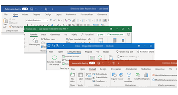 Opdaterede visuelle elementer på båndet i Word, Excel, PowerPoint og Outlook