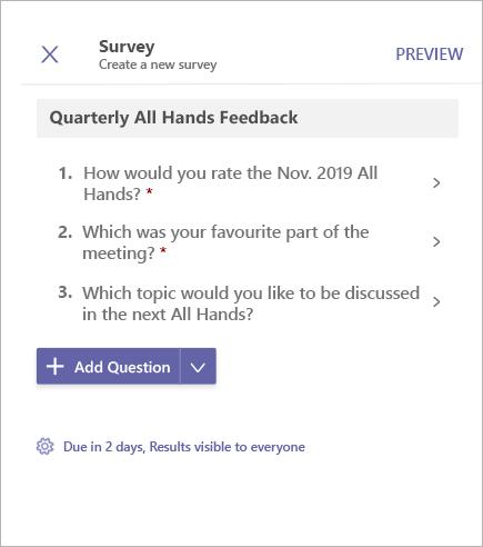 Forhåndsvisning af undersøgelse Afstemning i Microsoft Teams