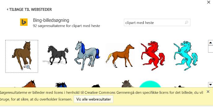 """En søgning efter """"hest clipart"""" giver dig en lang række billeder med en Creative Commons-licens."""