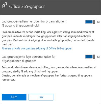Giv personer uden for min organisation adgang til Office 365 Grupper og ressourcer