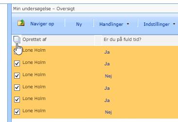 Klik på ikonet Markér alt i Site Manager-skærmbilledet, mens Undersøgelse er valgt.