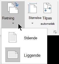 På fanen Design kan du i menuen Retning vælge Stående eller Liggende papirretning for en Visio-side.