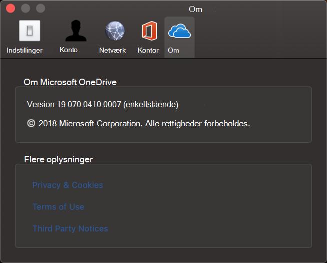 Om brugergrænseflade i OneDrive til Mac