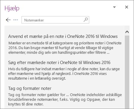 Skærmbillede af ruden Hjælp til OneNote der viser søgeresultater for Mærkenoter.
