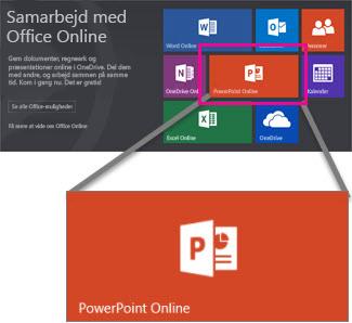 Vælg PowerPoint Online
