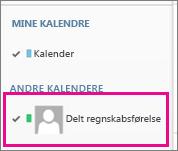 Outlook Web App med en kalender for en delt postkasse markeret