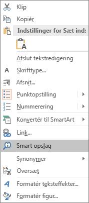 """Viser indstillingen """"Smart opslag"""" i PowerPoint"""