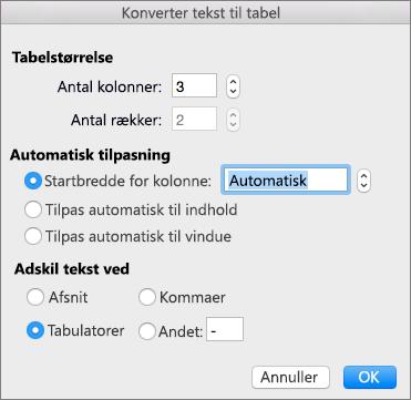 Indstillinger for konvertering af tekst til en tabel