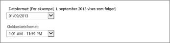 Indstillinger for dato- og klokkeslætsformat i Outlook Web App