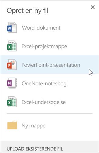 Oprette en PowerPoint-præsentation