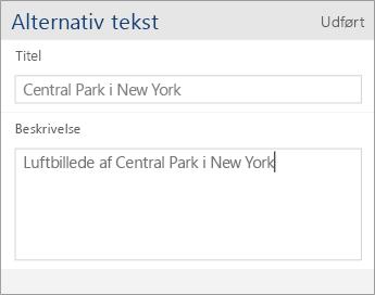 Skærmbillede af dialogboksen for alternativ tekst i Word Mobile, der indeholder felterne Titel og Beskrivelse.