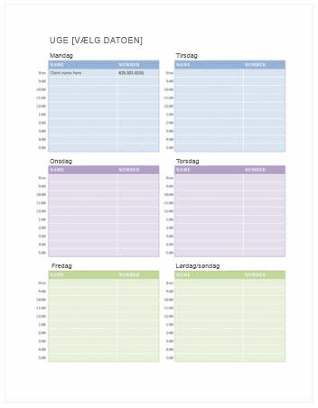 Ugentlig aftalekalender (Word)