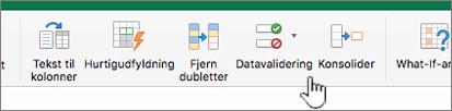 Menuen Data i Excel-værktøjslinjen vist med Datavalidering valgt