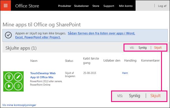 Skjult link fremhævet på siden for Office Store-tilføjelsesprogrammer