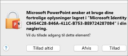 Office 2016 til Mac-meddelelse om adgang til nøglering